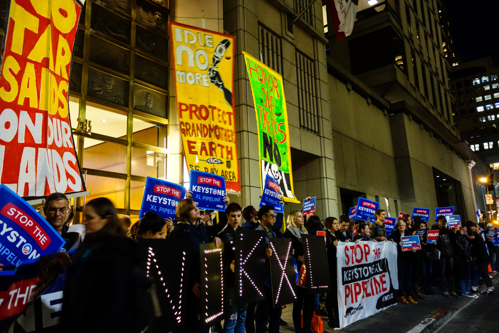 Protesters were lined up in front of the United States Department of State building.