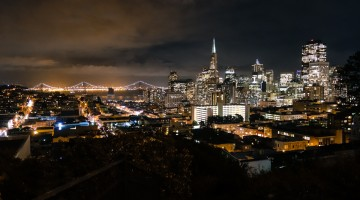 View of the night skyline from Russian Hill's Ina Coolbrith Park.